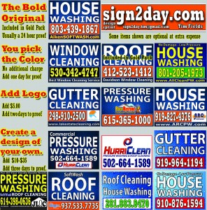 Price list with yard sign images